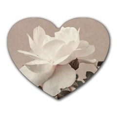 White Rose Vintage Style Photo In Ocher Colors Mouse Pad (heart)