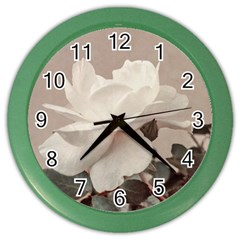 White Rose Vintage Style Photo In Ocher Colors Wall Clock (color)