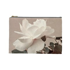 White Rose Vintage Style Photo In Ocher Colors Cosmetic Bag (large)