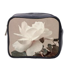 White Rose Vintage Style Photo In Ocher Colors Mini Travel Toiletry Bag (two Sides)