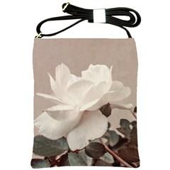 White Rose Vintage Style Photo In Ocher Colors Shoulder Sling Bag