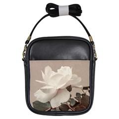 White Rose Vintage Style Photo In Ocher Colors Girl s Sling Bag
