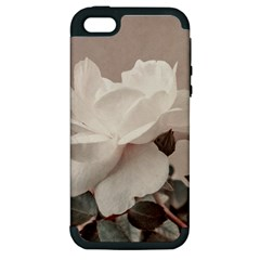 White Rose Vintage Style Photo In Ocher Colors Apple Iphone 5 Hardshell Case (pc+silicone)