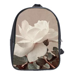 White Rose Vintage Style Photo In Ocher Colors School Bag (xl)