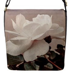 White Rose Vintage Style Photo In Ocher Colors Flap Closure Messenger Bag (small)