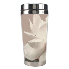 White Rose Vintage Style Photo In Ocher Colors Stainless Steel Travel Tumbler
