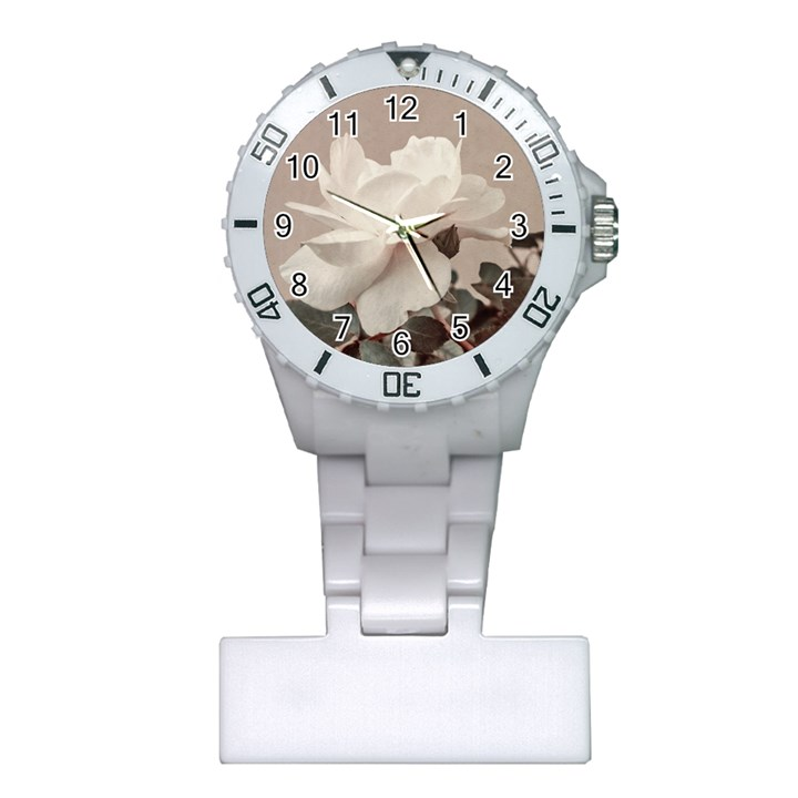 White Rose Vintage Style Photo in Ocher Colors Nurses Watch