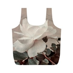 White Rose Vintage Style Photo In Ocher Colors Reusable Bag (m)