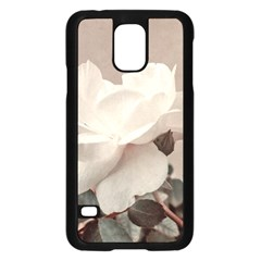 White Rose Vintage Style Photo in Ocher Colors Samsung Galaxy S5 Case (Black)