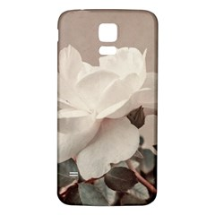 White Rose Vintage Style Photo in Ocher Colors Samsung Galaxy S5 Back Case (White)