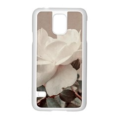 White Rose Vintage Style Photo in Ocher Colors Samsung Galaxy S5 Case (White)