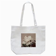 White Rose Vintage Style Photo in Ocher Colors Tote Bag (White)