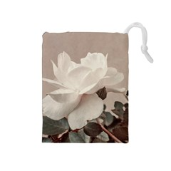 White Rose Vintage Style Photo in Ocher Colors Drawstring Pouch (Medium)