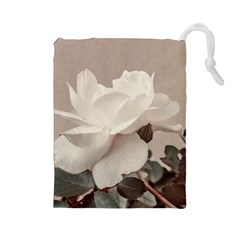 White Rose Vintage Style Photo In Ocher Colors Drawstring Pouch (large)