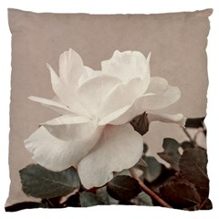 White Rose Vintage Style Photo In Ocher Colors Large Flano Cushion Case (two Sides)