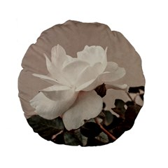 White Rose Vintage Style Photo In Ocher Colors 15  Premium Flano Round Cushion