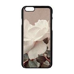 White Rose Vintage Style Photo in Ocher Colors Apple iPhone 6 Black Enamel Case