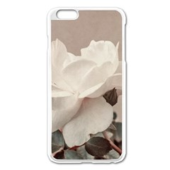 White Rose Vintage Style Photo in Ocher Colors Apple iPhone 6 Plus Enamel White Case
