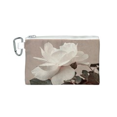 White Rose Vintage Style Photo in Ocher Colors Canvas Cosmetic Bag (Small)