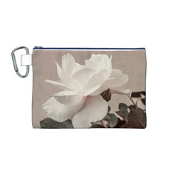 White Rose Vintage Style Photo in Ocher Colors Canvas Cosmetic Bag (Medium)