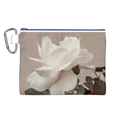 White Rose Vintage Style Photo in Ocher Colors Canvas Cosmetic Bag (Large)