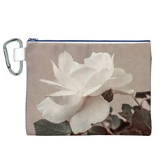 White Rose Vintage Style Photo in Ocher Colors Canvas Cosmetic Bag (XL)