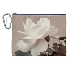 White Rose Vintage Style Photo in Ocher Colors Canvas Cosmetic Bag (XXL)