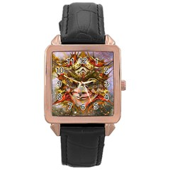 Star Clown Rose Gold Leather Watch