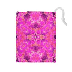 Beautiful Pink Coral  Drawstring Pouch (large)