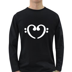 Music Notes White Heart  Men s Long Sleeve T-shirt (Dark Colored)