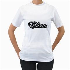 Edison Silver Bold Women s T-Shirt (White)