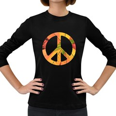 Pease,love,music Old Women s Long Sleeve T Shirt (dark Colored)