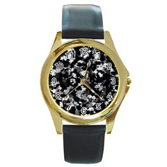 Shades Of Gray  And Black Oils #1979 Round Leather Watch (gold Rim)