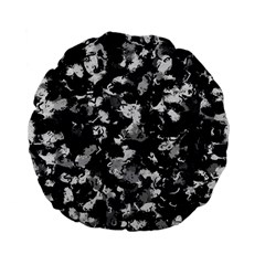 Shades Of Gray  And Black Oils #1979 15  Premium Flano Round Cushion