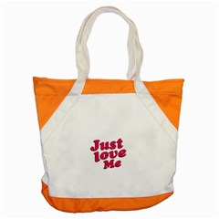 Just Love Me Text Typographic Quote Accent Tote Bag