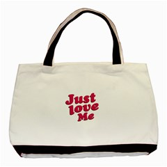 Just Love Me Text Typographic Quote Twin-sided Black Tote Bag