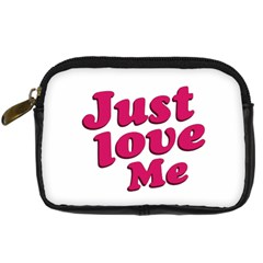 Just Love Me Text Typographic Quote Digital Camera Leather Case
