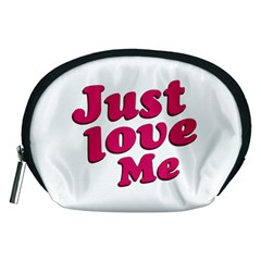 Just Love Me Text Typographic Quote Accessory Pouch (medium)