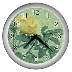 Yellow Rose Vintage Style  Wall Clock (silver)