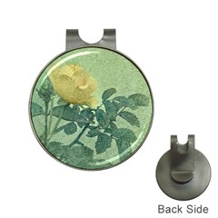 Yellow Rose Vintage Style  Hat Clip With Golf Ball Marker