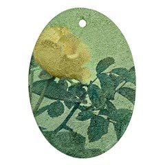 Yellow Rose Vintage Style  Oval Ornament (two Sides)