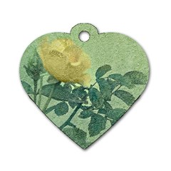 Yellow Rose Vintage Style  Dog Tag Heart (two Sided)