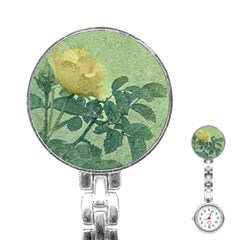Yellow Rose Vintage Style  Stainless Steel Nurses Watch