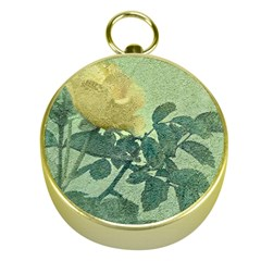 Yellow Rose Vintage Style  Gold Compass