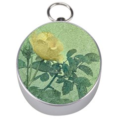 Yellow Rose Vintage Style  Silver Compass