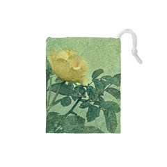 Yellow Rose Vintage Style  Drawstring Pouch (small)