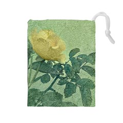 Yellow Rose Vintage Style  Drawstring Pouch (large)