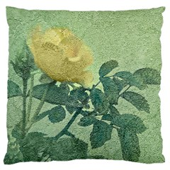 Yellow Rose Vintage Style  Large Flano Cushion Case (One Side)