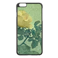 Yellow Rose Vintage Style  Apple iPhone 6 Plus Black Enamel Case