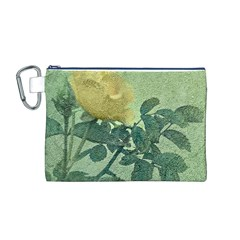 Yellow Rose Vintage Style  Canvas Cosmetic Bag (medium)